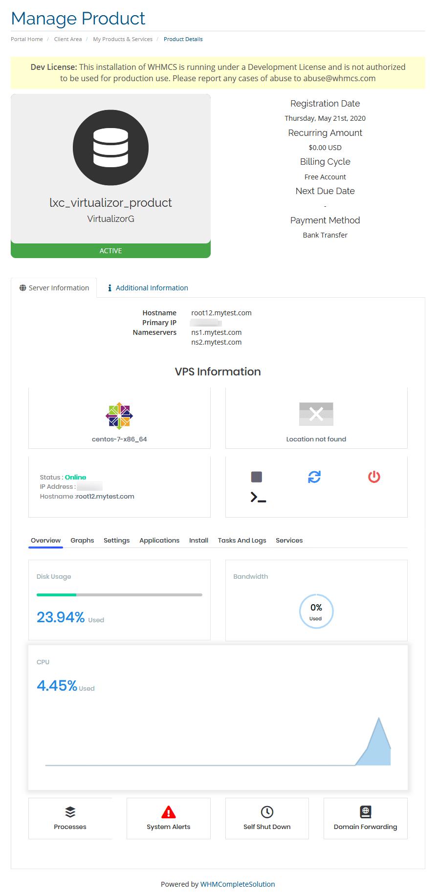 Client area product details