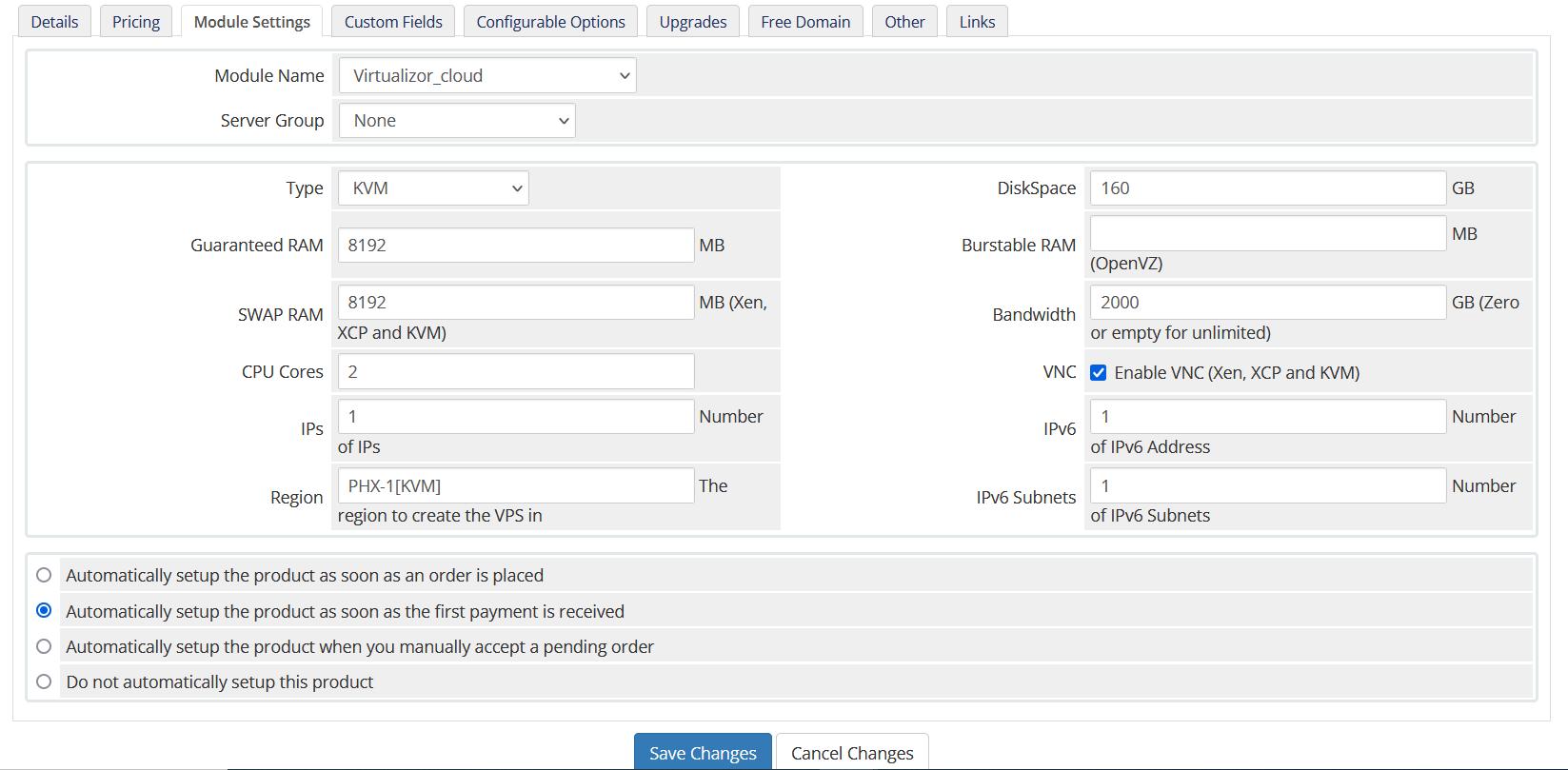 Configure product module settings