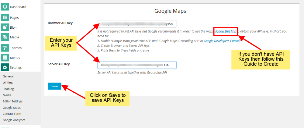 Add Google API keys to Cloud Website Builder