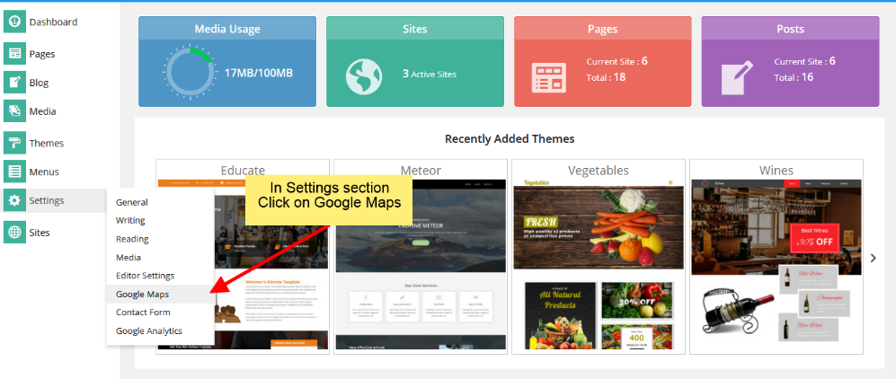 Google Maps API Settings for Cloud Site Builder
